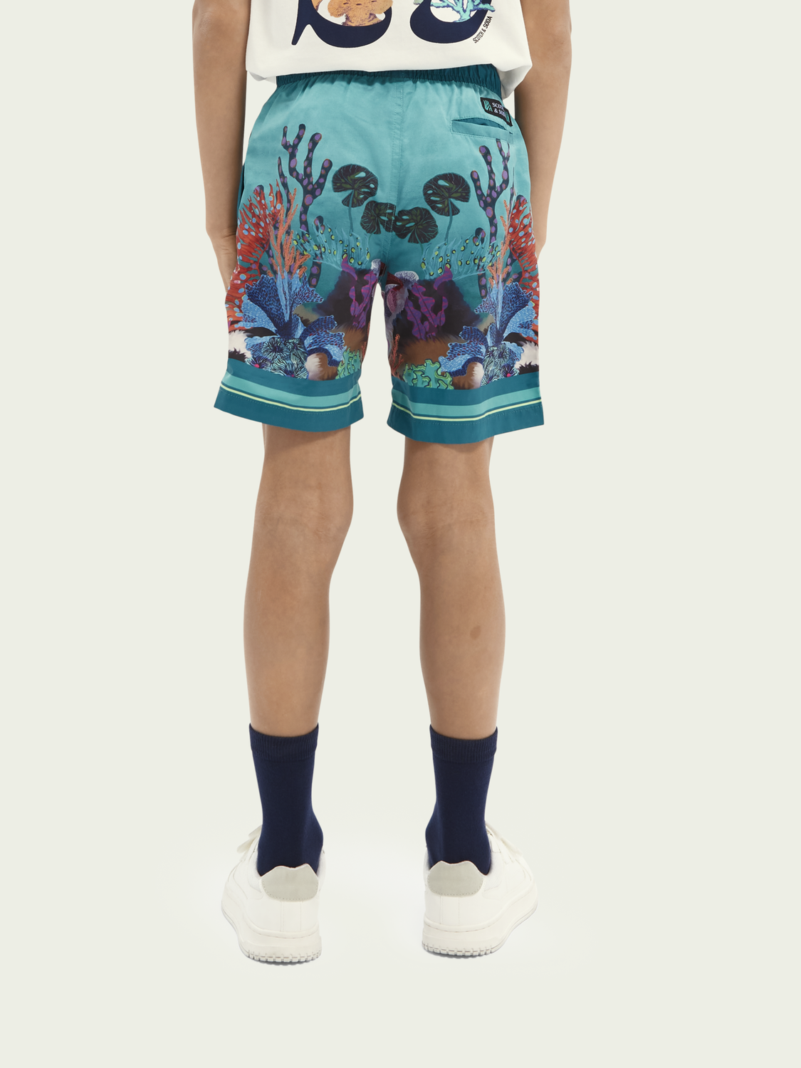 Kids Sea-print recycled polyester swim shorts