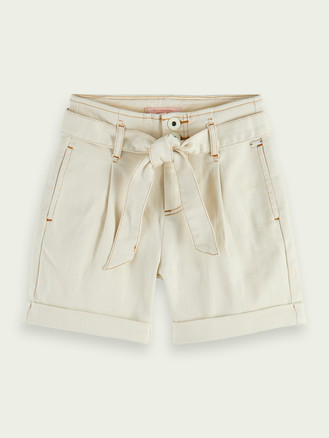 Kids Contrast stitching organic cotton paper bag shorts