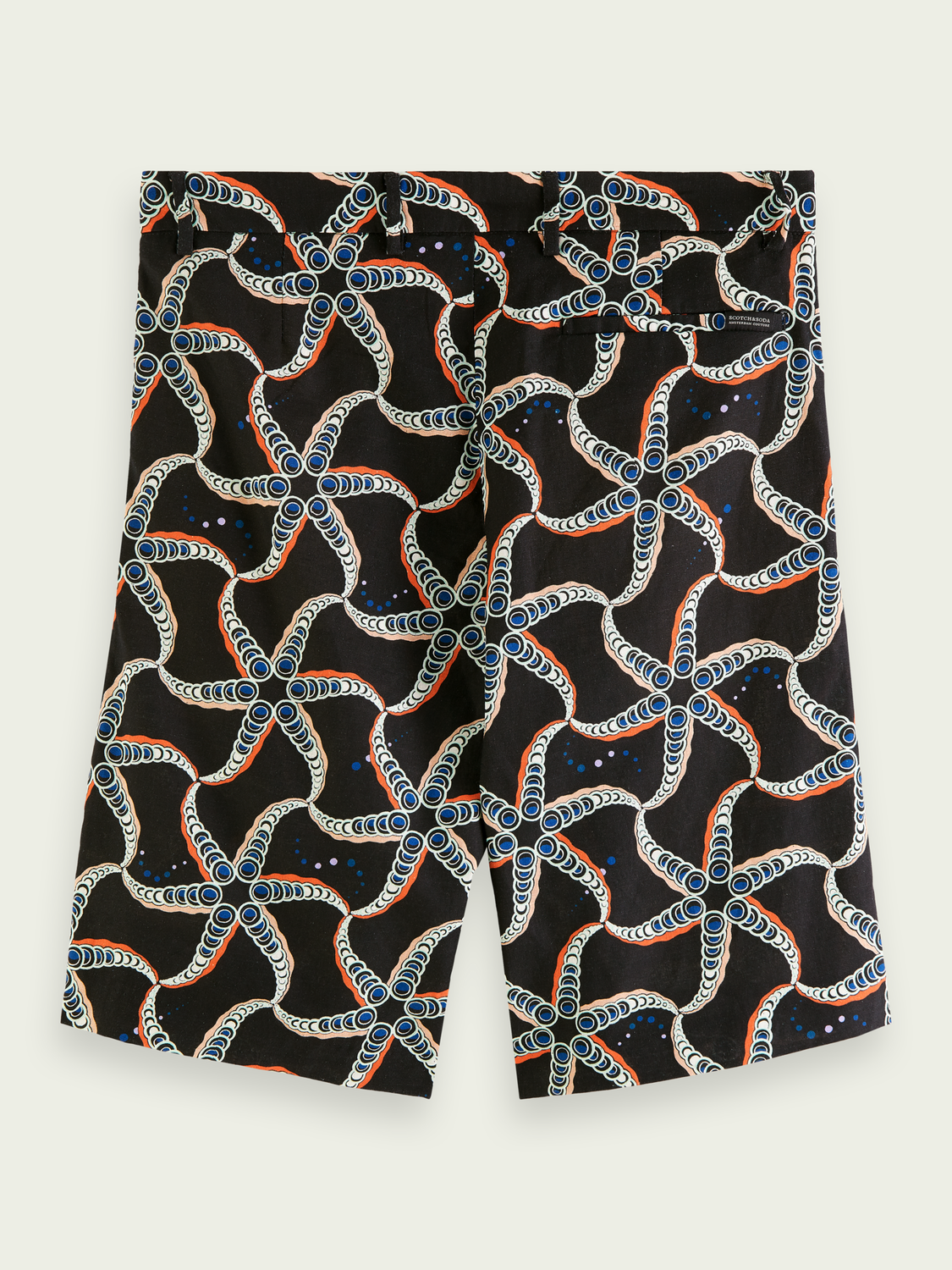 Men Printed linen-blend Bermuda short