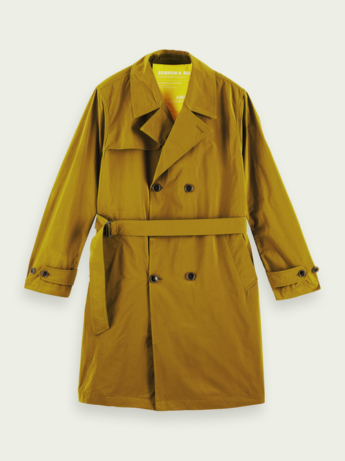 Men's Long double - breasted trench coat