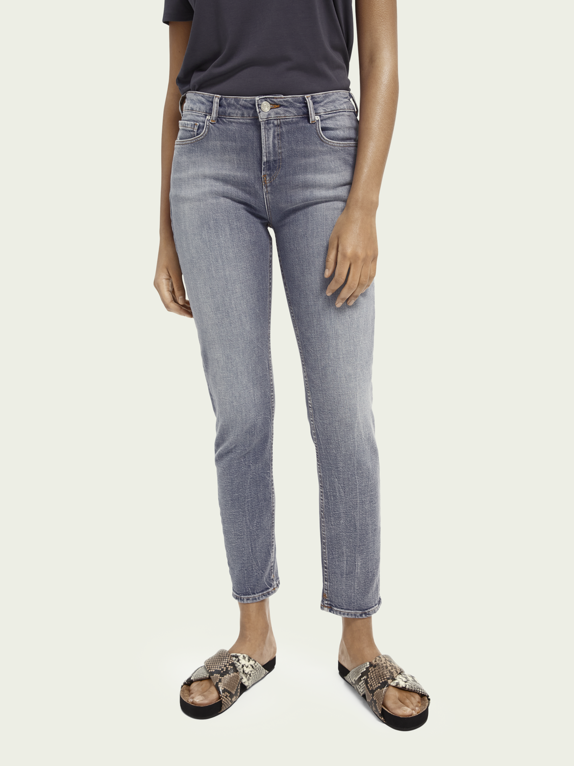 Dames The Keeper mid rise slim fit jeans van een gerecyclede katoenmix – Pop Of Smoke