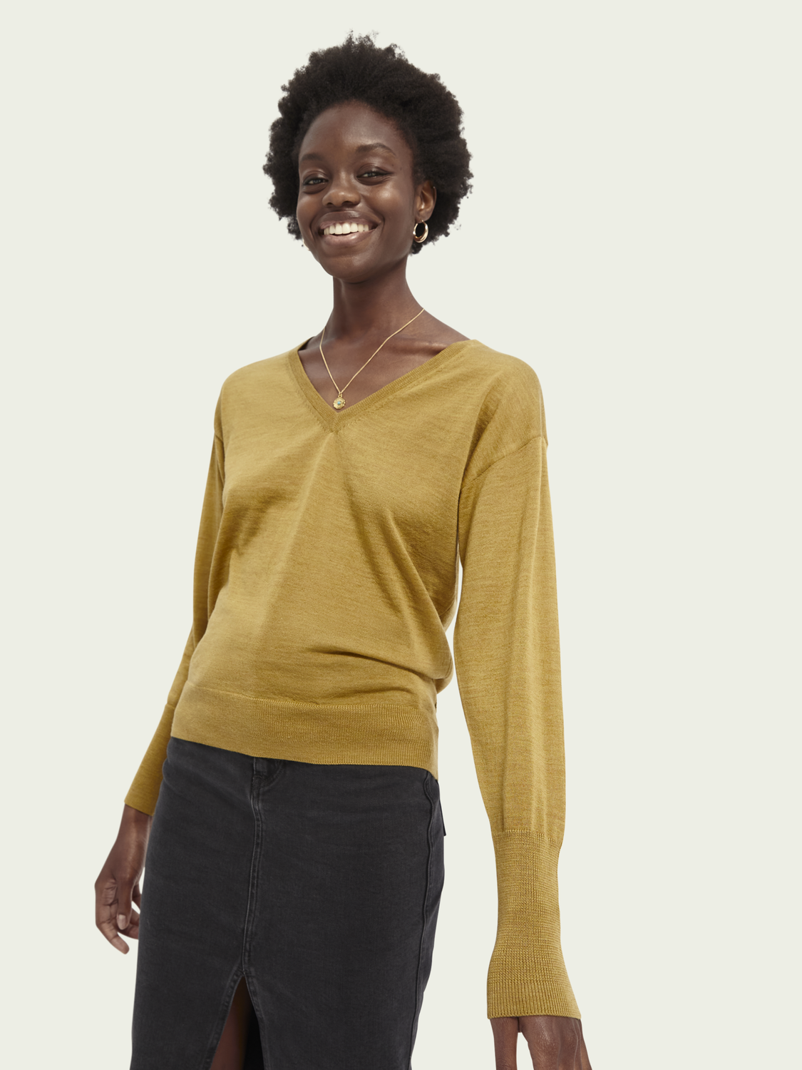 Women Merino wool V-neck jumper