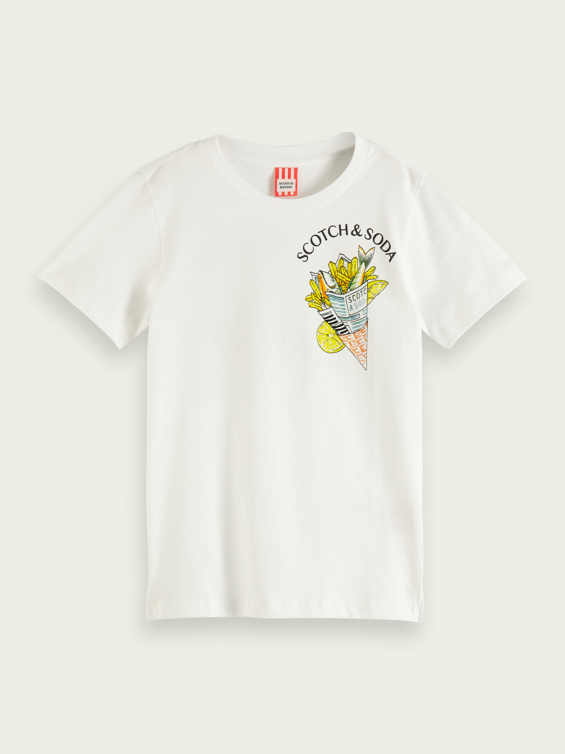 Kids T-shirt with fish and chips artwork