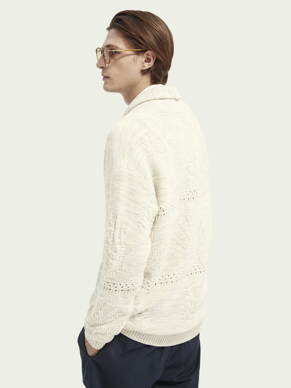 Men Structured relaxed jacquard knit cardigan
