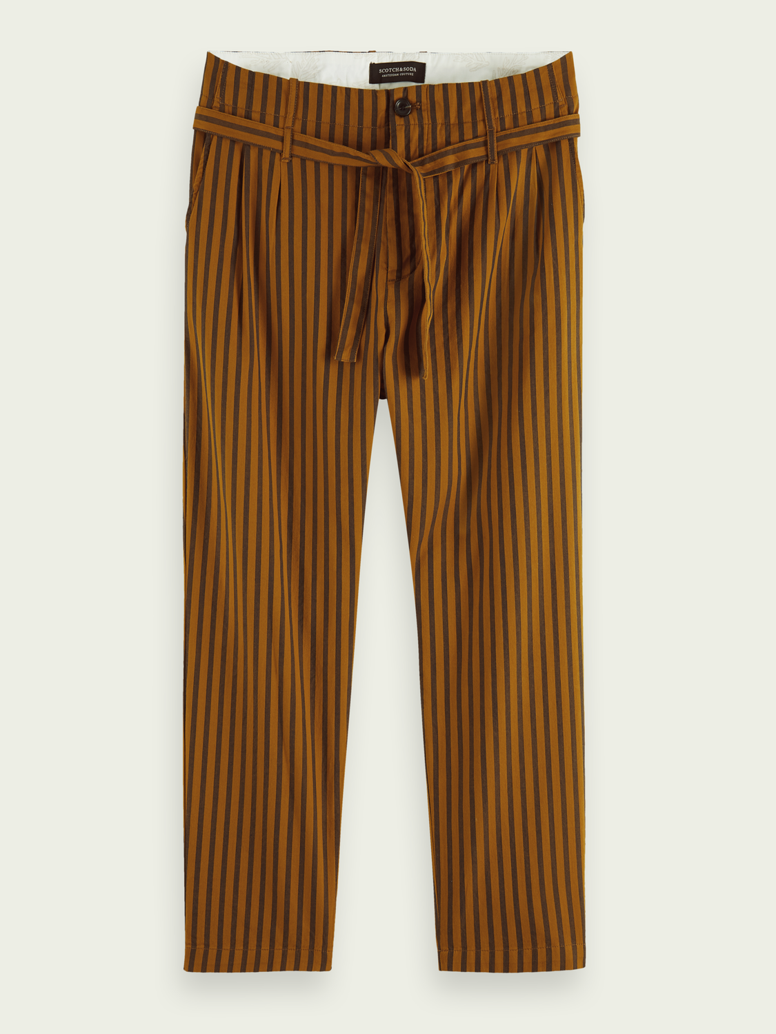Men Striped pleated cotton chino