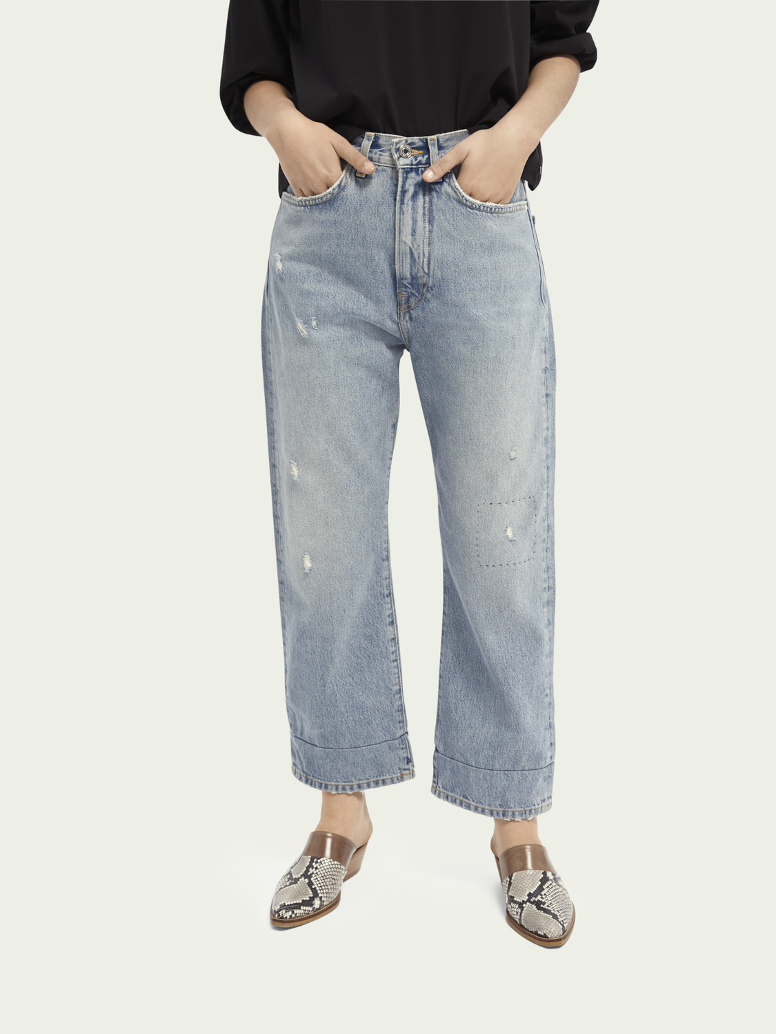 Women Extra Boyfriend organic cotton jeans - Sea Romance