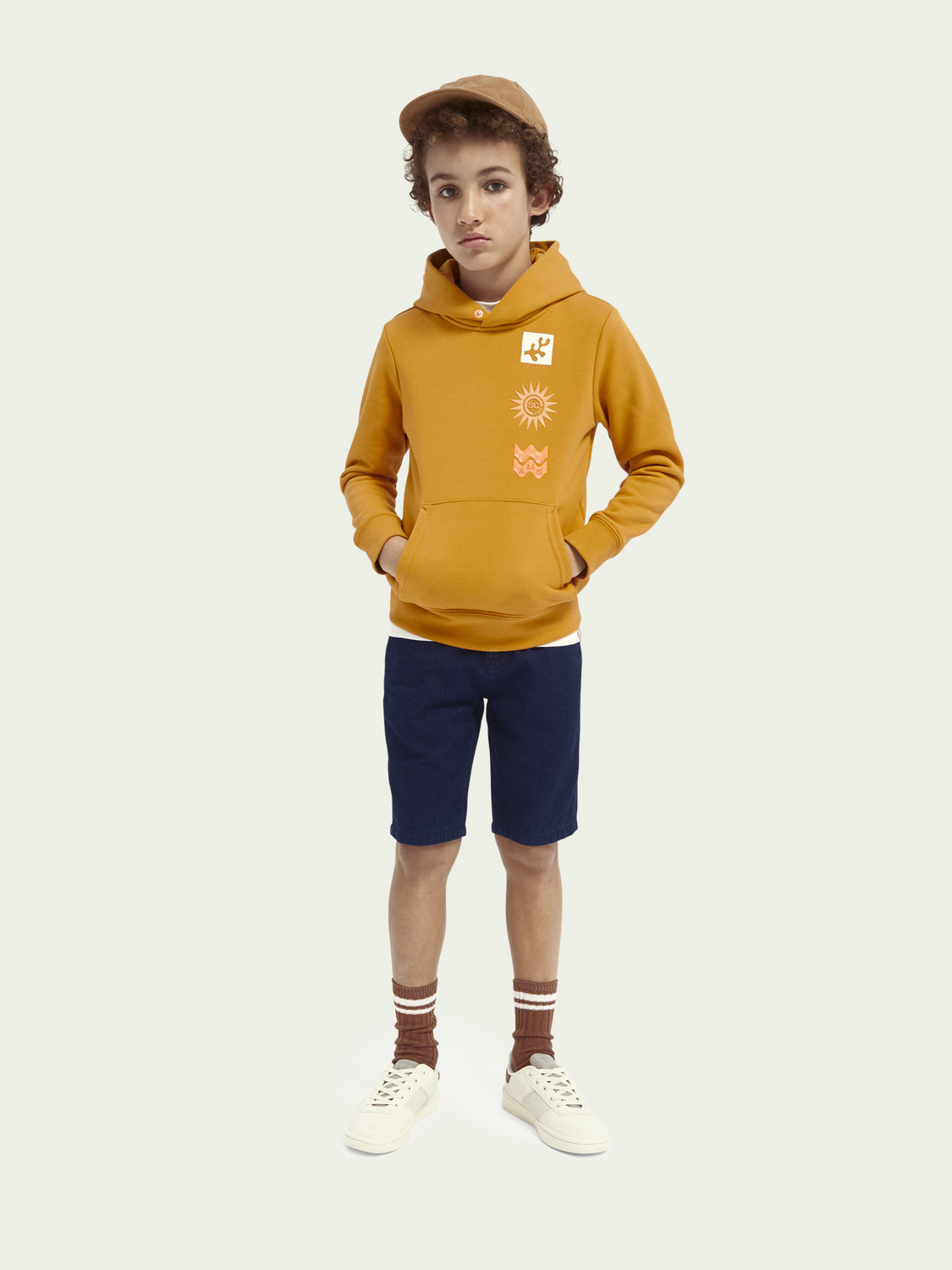 Kids Cotton-blend hoodie with inner collar