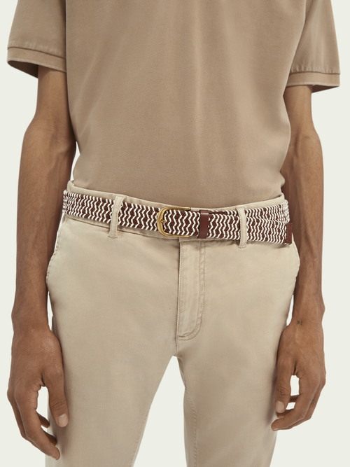 Men Braided belt in leather and rope material