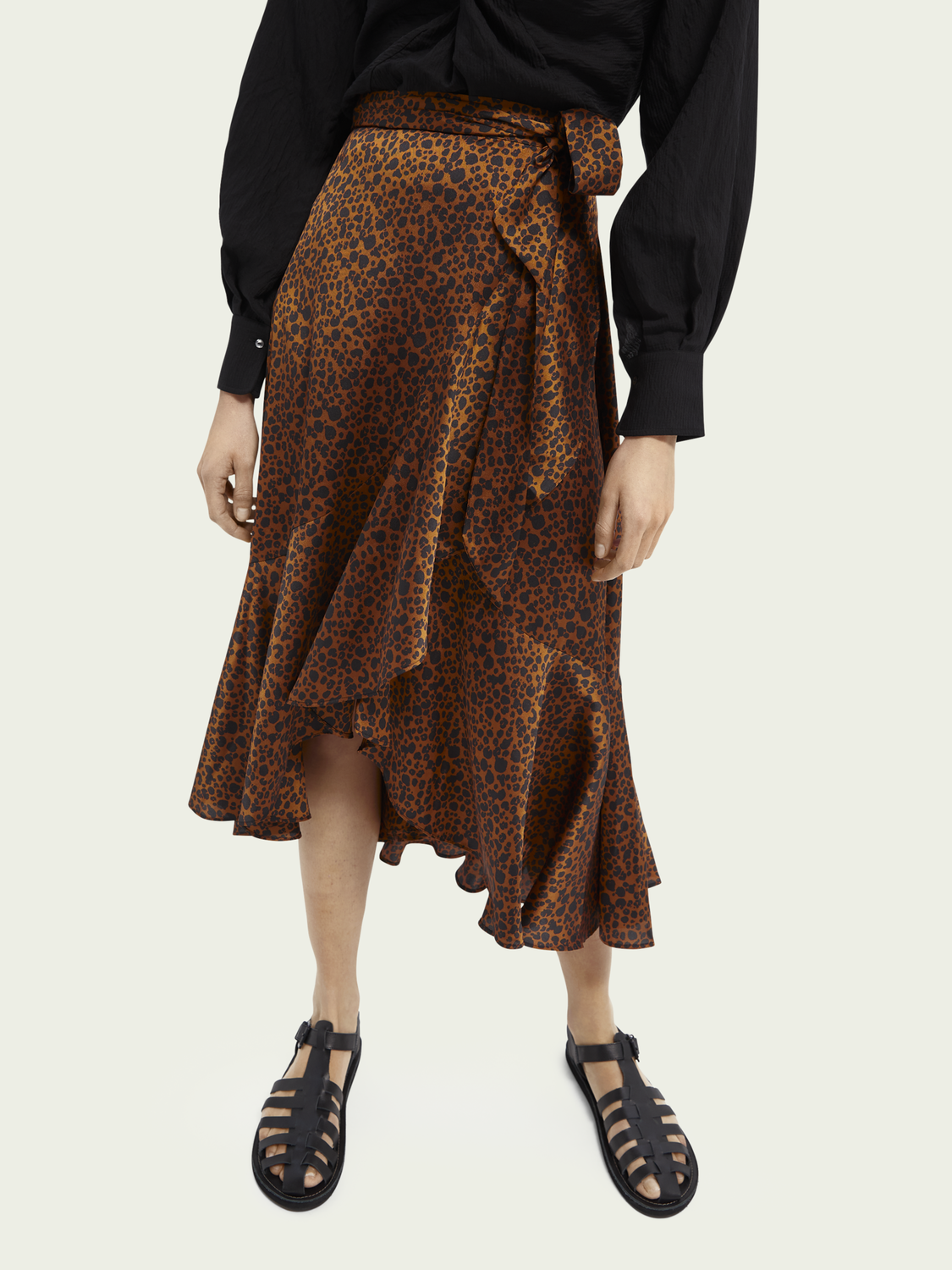 Women Printed ruffled wrap skirt