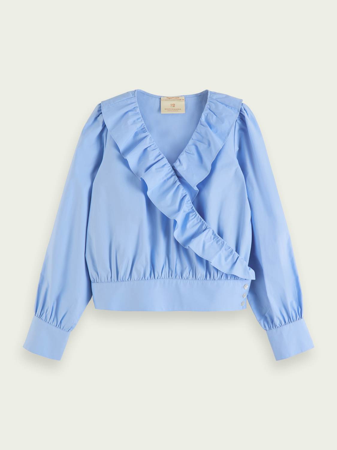 Kids Organic cotton ruffle wrap top