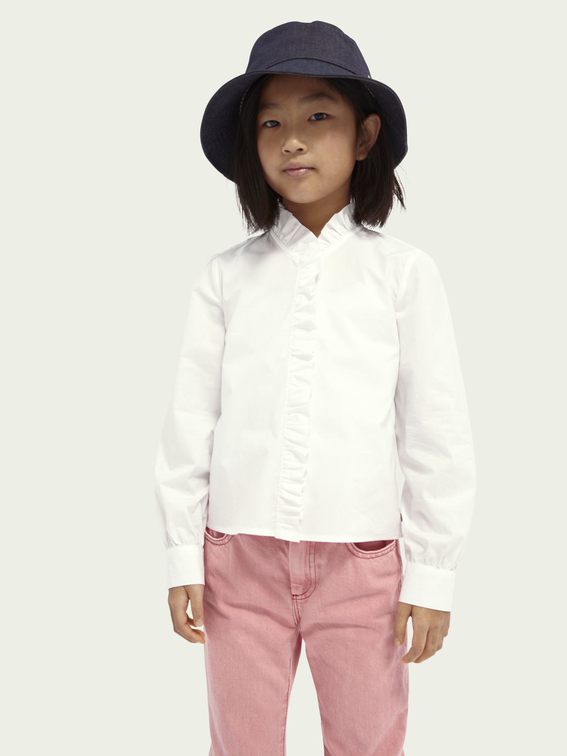Kids Organic cotton ruffle shirt