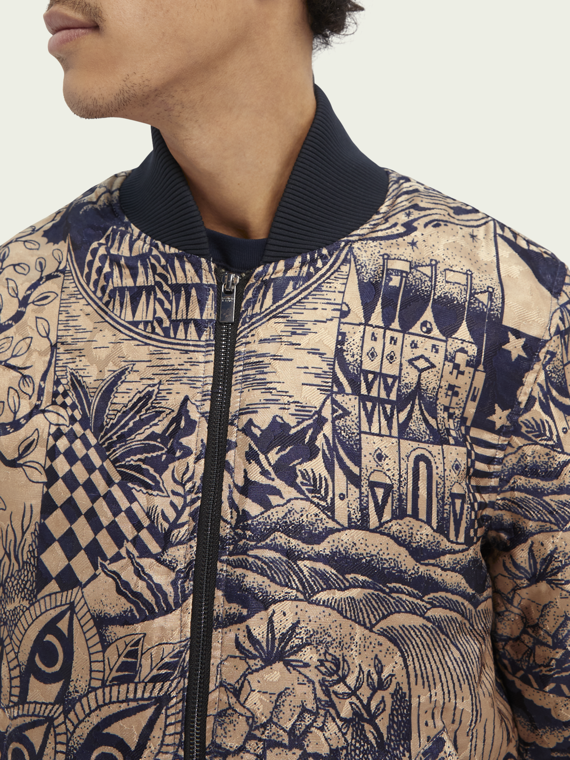 Men Jacquard bomber jacket