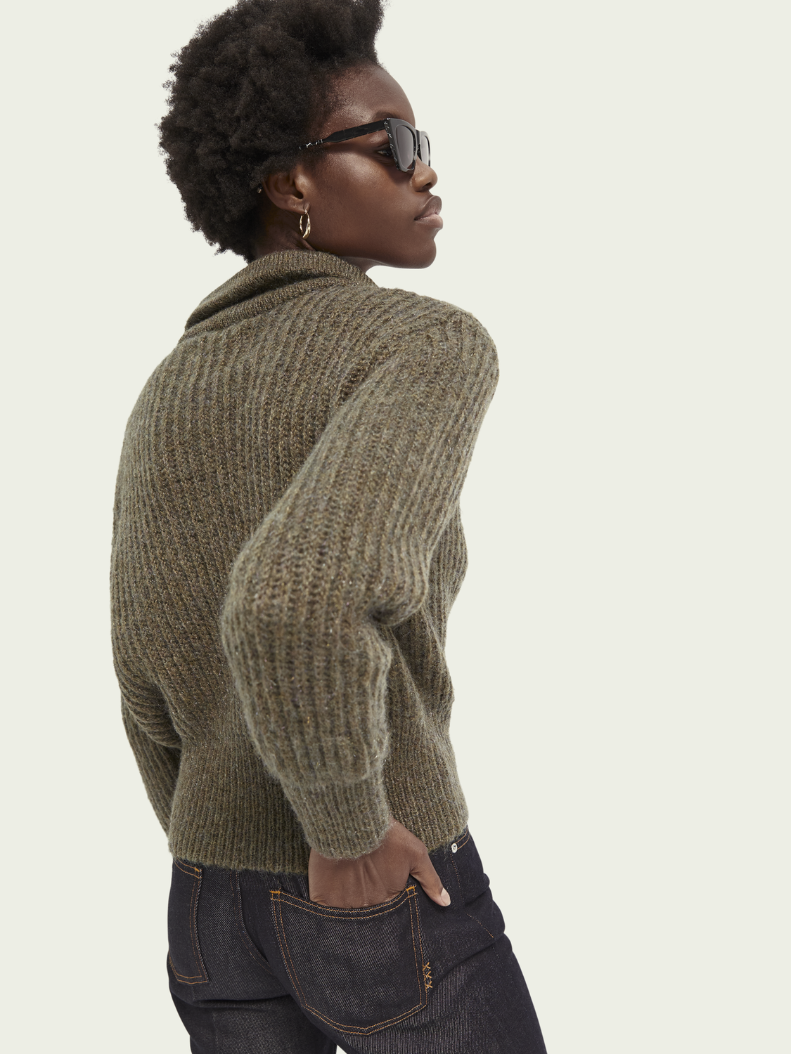 Women Half-zip wool-blend turtleneck