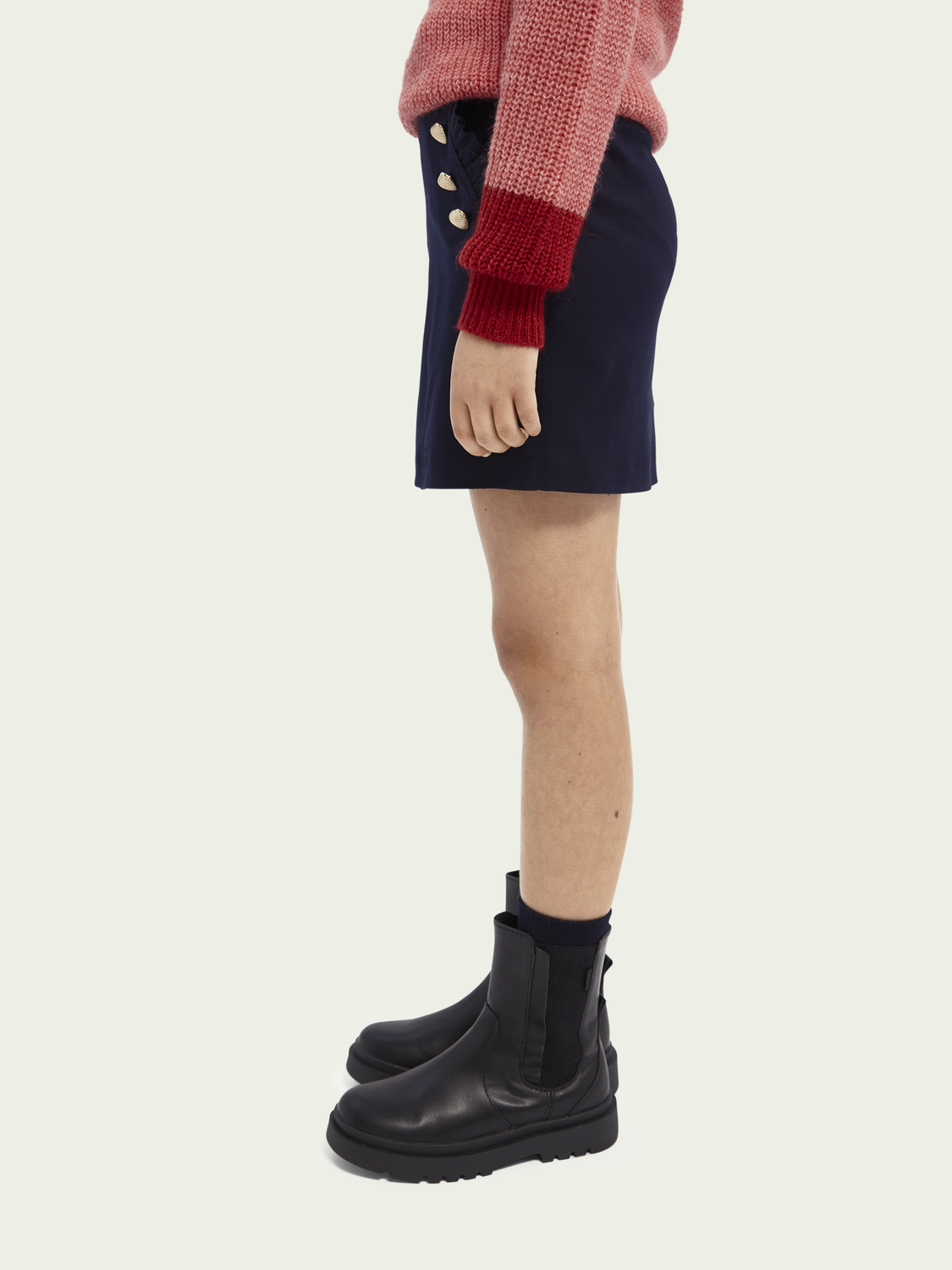 Kids Cotton jersey mini skirt with button detail