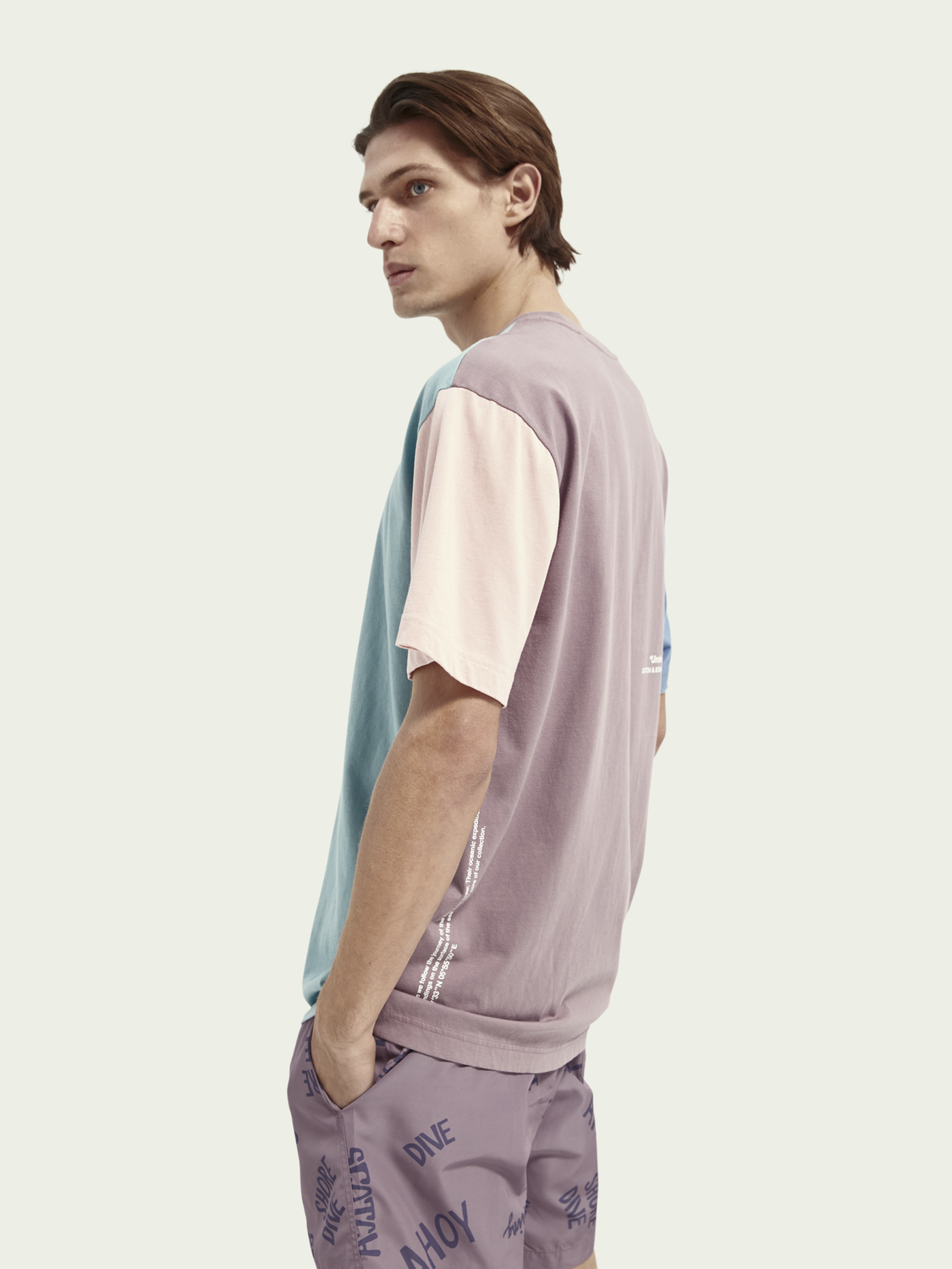 Heren Relaxed fit katoenen T-shirt met colourblock