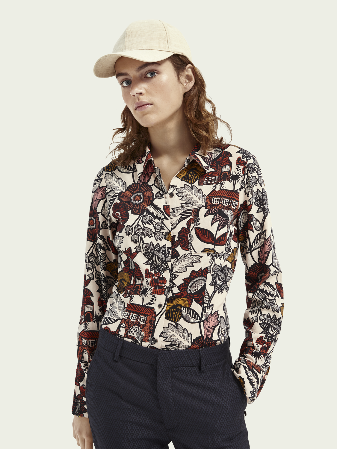 Women Slim-fit button-down organic cotton blend shirt