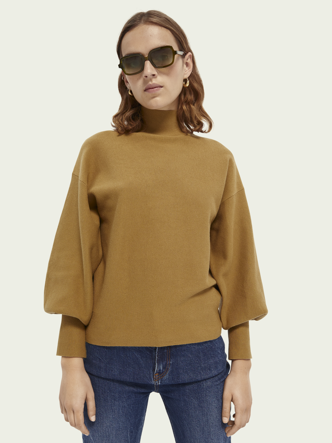 Women Cotton high-neck sweater
