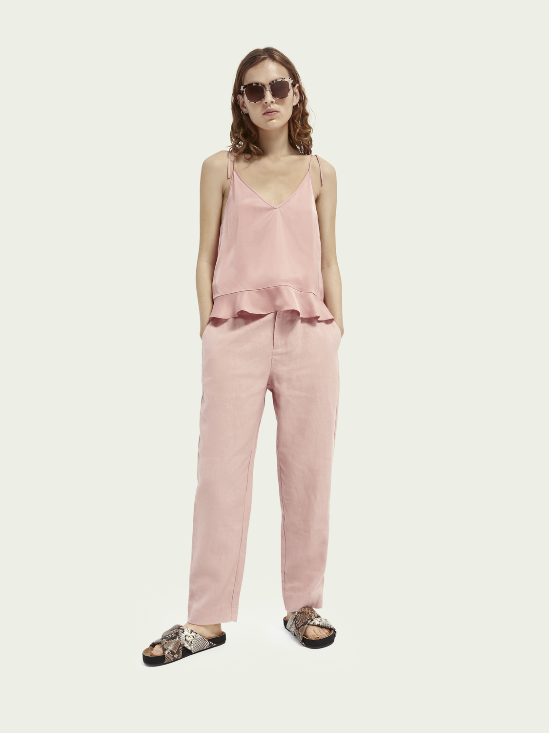 Women Paperbag linen trousers
